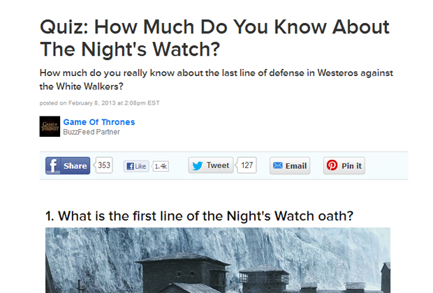 Game of Thrones and Buzzfeed
