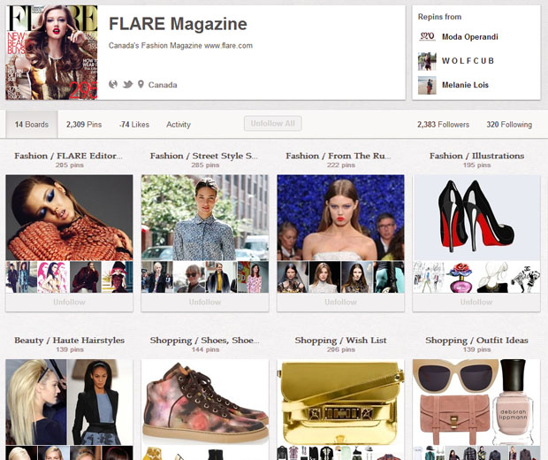Flare Magazine's Pinterest Boards