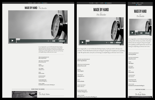 Responsive Design Example: Made By Hand